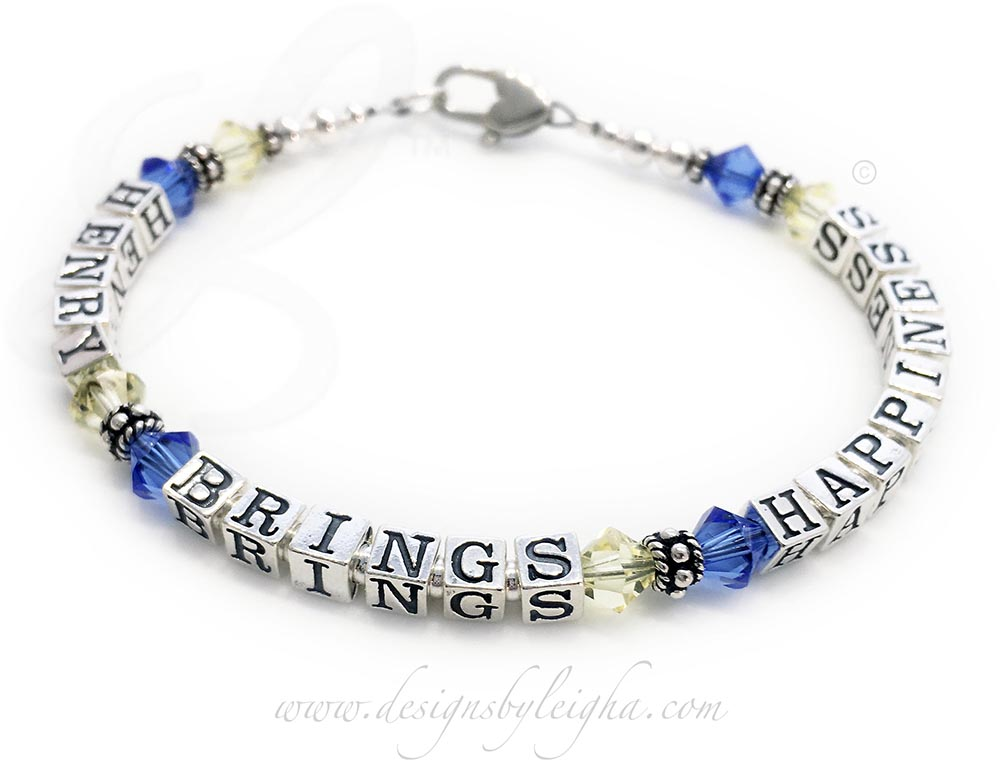 This is a Down Syndrome or Trisomy 21 Awareness Bracelet with blue and yellow Swarovski crystals between Henry Brings Happiness. This bracelet is shown with an upgraded Heart Lobster Claw Clasp (you can choose a free lobster or free toggle during the ordering process). You may add charms to this design.